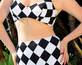 LAST ONES Black and White Harlequin 2 Piece Swimsuit In STOCK