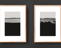 Distortion, Set of two abstract Art prints, Black and white Abstract prints, Mid Century Modern wall decor, Top Selling shop, art prints