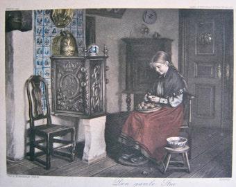 Scandinavian Print, 1911, Den Gamle Stue (The Old Stove), Handcoloured, Antique, Norwegian label on back