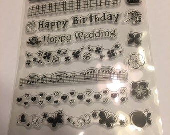 15 piece clear border stamps and more set (A11)