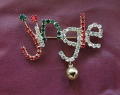 Vintage Christmas Brooch or Pin.  Jingle Bells.  Excellent Condition.