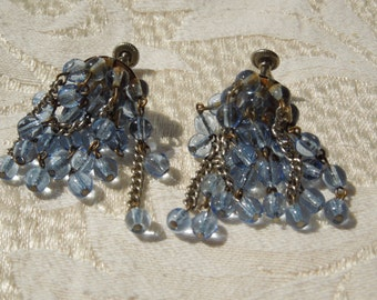 Vintage Screw Back Earrings, Western Germany, Dangling Blue Beads.