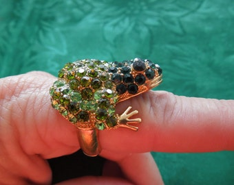 Fashion Ring, Frog Ring, Flexible Shank.  Brass Toned, Lots of Green Rhinestones