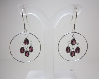 Umba River Rhodolite Garnet Chandelier Earrings