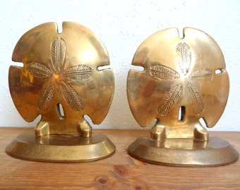 Vintage Brass Sand- Dollar Bookends