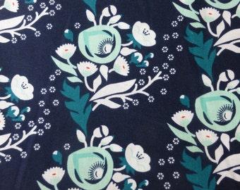 1/2 Yard Organic Cotton Fabric - Cloud 9 Fabrics, Vignette, Poppy Turquoise