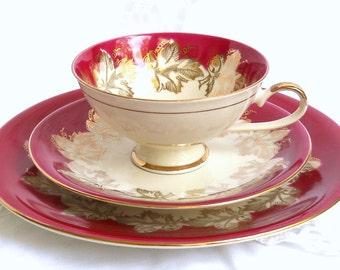 vintage tea cup trio german porcelain tea cups tea trio tea cup and saucer burgundy tea cup red teacup 832