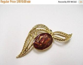 ON SALE Vintage Bronze Enameled Gold Tone Brooch Item K # 1186