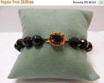 ON SALE Vintage Black Glass Beaded Bracelet with Rhinestone Clasp Item K # 2049
