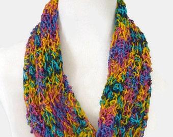 Crochet Cowl Bright Neck Warmer Infinity Scarf Unisex Scarf
