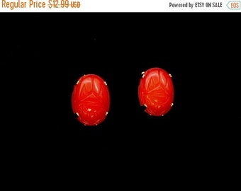 Biggest Sale Ever Glass Earrings Red Scarab Design