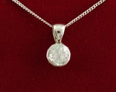 Reserved for H. thank you. Edwardian 1,80 Ct rose cut solitaire diamond necklace