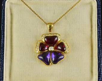 Outstanding rubellite amethyst diamond large precious vintage pansy pendant
