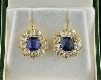 Authentic Victorian 2.90 Ct natural sapphire and 3.90 Ct old mine cut diamond drop earrings