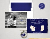 USA Two States Save the Date Card Cobalt Blue Royal Blue Navy colors with photo Destination wedding invitation