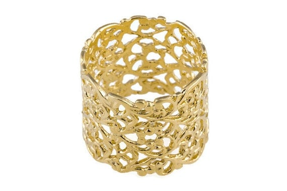 Lace Gold Ring Lace Ring Wide Gold Ring Wide Ring Wide