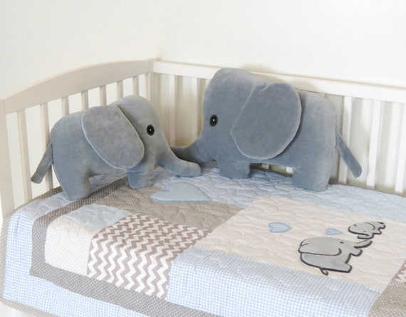Elephant Baby Quilt Blue Gray Crib Bedding By