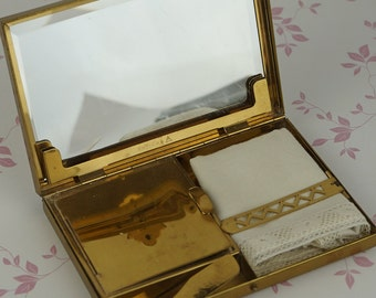 Entouka Art Deco Brass 1930s Carryall Ladies Compact with Mirror