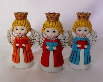 Vintage Chalk Angels Set of 3 Choir Angels Homco Mid-century Candle Holders  Christmas Decor