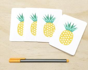 Mini Gift Card Pack + Mini Envelopes - Geometric Pineapples - Set of 4 Rounded White Small Cards - GC04