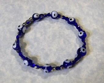 Cobalt Blue Evil Eye and Seed Bead Stretch Bracelet