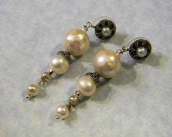 Freshwater Pearl and Bali Silver Drop Earrings