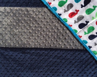 Minky Baby Quilt; Whale Baby Quilt; Whale Blanket; Navy, Grey, & Red Quilt; Nautical Baby Quilt