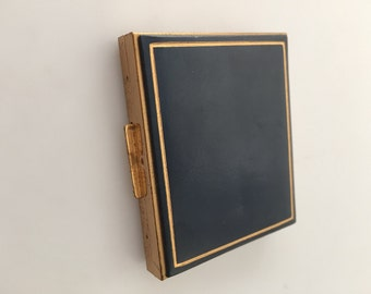 1950s Vintage Compact  RUMPPS Genuine CALF Leather COMPACT Case Never Used Powder Compact Movie Prop Blue Leather Gold trim