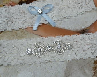 Wedding Garter Set - Ivory Lace Garter Set -Lace Garter
