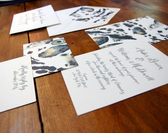 Grey and Blue watercolor Invitation w/ custom calligraphy