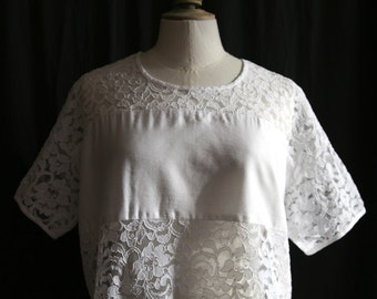 Lace Crop Tee shirt short sleeves, white