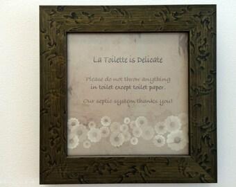 Bathroom Wall Decor/ Large Decorative Septic Sign/ Bathroom Etiquette/ Bathroom Rules