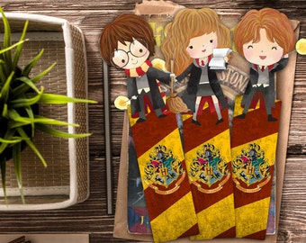 Harry Potter Bookmark Set / Trio Bookmarks / Harry Potter Inspired / Handmade Bookmark / Ron Weasley, Hermione Granger / Book marks