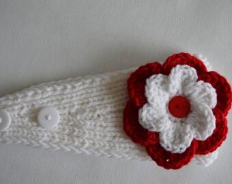 Red and White Knit Headband/ Knit Ear Warmer/  Ear Warmer
