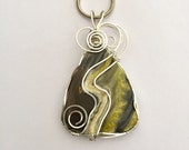 Bumble Bee Jasper,  Wire Wrapped, Pendant, Stone, Silver Filled, Handmade, Jewelry