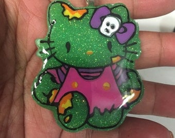 Hello Kitty Inspired Resin Cabochon Necklace Pendant Zombie Cat Kawaii Kitty