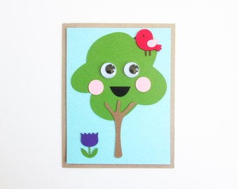 happy tree diy card making kit - makes four folded cards
