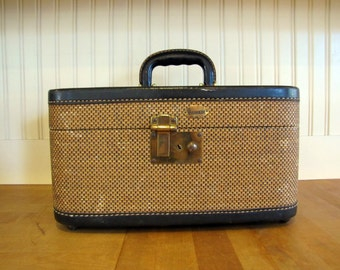 Vintage Wicker and Navy Leather Maximillion Train Case, Suitcase, Leather, Maximillion, Navy, Tan, 1940's, Luggage, Train Case, Small,
