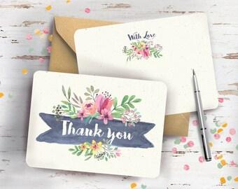 Spring Floral Wedding Thank You Cards Set