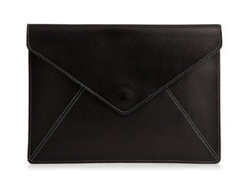 Black Leather Envelope Clutch, Evening Leather Clutch Bag