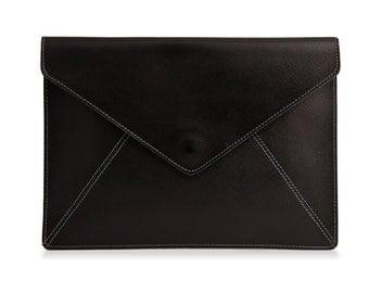 Black Leather Envelope Clutch, Evening Leather Clutch Bag