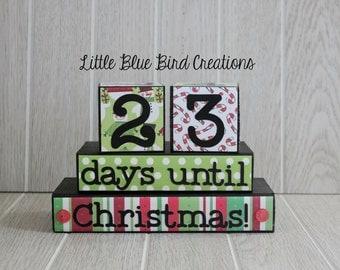 Christmas Countdown wood blocks - wooden block countdown - holiday blocks - christmas decor- calender
