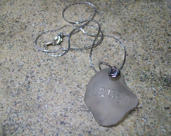 "Crystal sea glass ""laugh"" necklace, free shipping within US"
