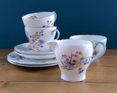 Reserved - Vintage Shelley Tea for Two - Two Cups, Two Saucers, Two Side Plates, Cream Jug and Sugar Bowl