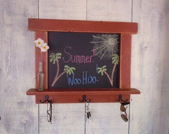 Kitchen Chalkboard-Craftsman style - country chic - with shelf and hooks 16 Colors to choose from -MADE TO ORDER - Rustic Handmade Furniture