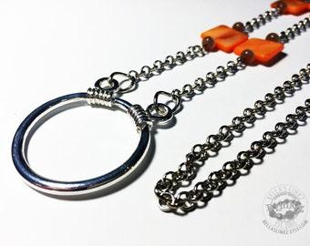 Orange Mother of Pearl Eyeglass Loop Necklace
