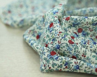 Flowers Cotton Gauze Fabric, Floral Gauze Fabric - Blue - By the Yard 90032