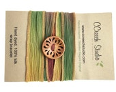 Orange and Green Silk Wrap Bracelet with Wooden Button