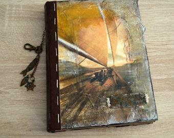 Handmade travel journal, ship log, sailing journal, wanderlust, travel diary, wanderlust journal, sketchbook, journey journal, captain's log