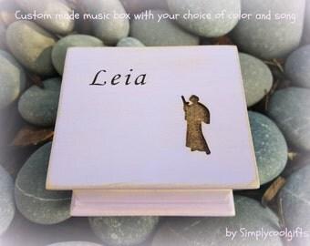 music box, wooden music box, custom music box, star wars, princess Leia, personalized music box, music box shop, personalized gift,